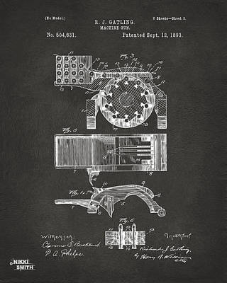 Vet Digital Art - 1893 Gatling Machine Gun Feed Patent Artwork - Gray by Nikki Marie Smith