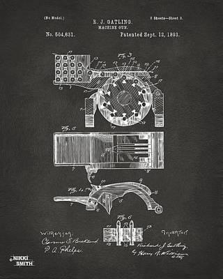1893 Gatling Machine Gun Feed Patent Artwork - Gray Art Print