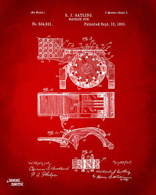 Vet Digital Art - 1893 Gatling Machine Gun Feed Patent Artwork - Red by Nikki Marie Smith