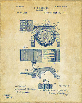 Vet Digital Art - 1893 Gatling Machine Gun Feed Patent Artwork - Vintage by Nikki Marie Smith