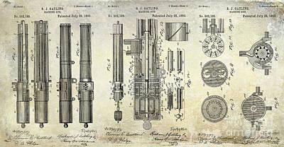 1893 Gatling Machine Gun Patent Drawing Art Print by Jon Neidert