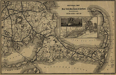 1893 Map Of New York New Haven And Hartford Railroad Art Print
