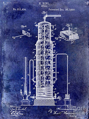 Beer Drawing - 1893 Still Patent Drawing Blue by Jon Neidert