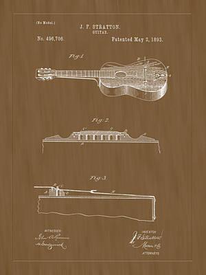 Photograph - 1893 Stratton Guitar Patent Art by Barry Jones