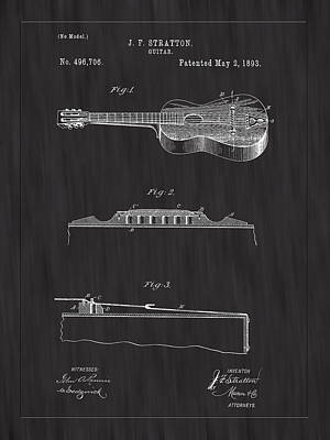 Bridge Photograph - 1893 Stratton Guitar Patent Art - Bk by Barry Jones