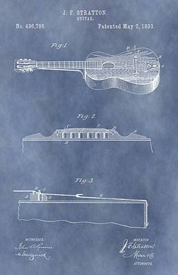 Acoustic Guitar Mixed Media - 1893 Stratton Guitar Patent by Dan Sproul