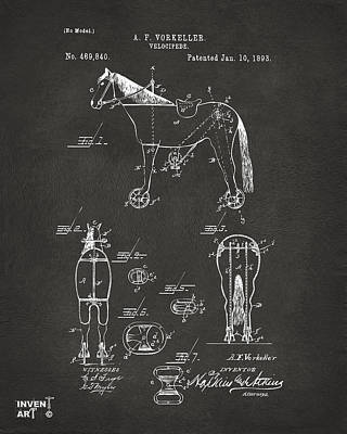 Digital Art - 1893 Velocipede Horse-bike Patent Artwork Gray by Nikki Marie Smith
