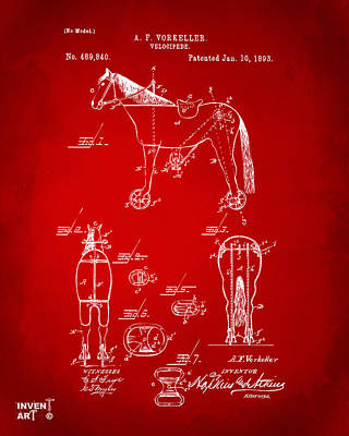 Drawing - 1893 Velocipede Horse-bike Patent Artwork Red by Nikki Marie Smith