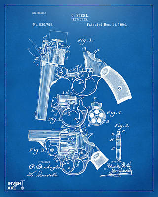Old Man Digital Art - 1894 Foehl Revolver Patent Artwork - Blueprint by Nikki Marie Smith