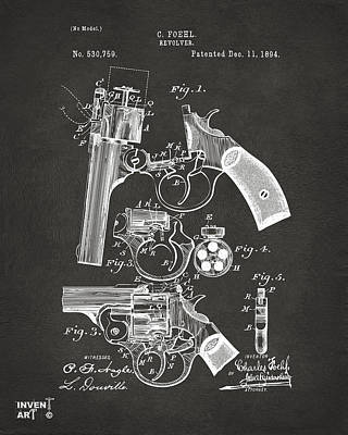 Digital Art - 1894 Foehl Revolver Patent Artwork - Gray by Nikki Marie Smith