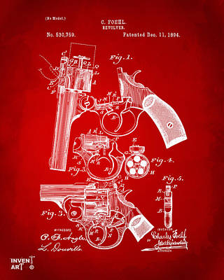 Old Man Digital Art - 1894 Foehl Revolver Patent Artwork - Red by Nikki Marie Smith