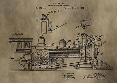1894 Locomotive Patent Art Print by Dan Sproul