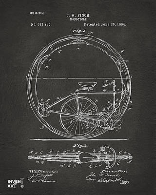 Drawing - 1894 Monocycle Patent Artwork Gray by Nikki Marie Smith