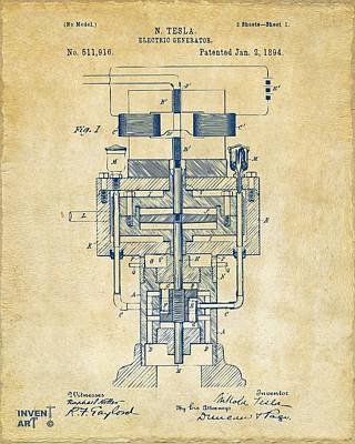 1894 Tesla Electric Generator Patent Vintage Art Print by Nikki Marie Smith