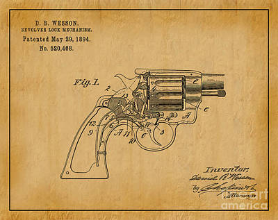 1894 Wesson Revolver Lock Mechanism Patent Art 1 Art Print by Nishanth Gopinathan