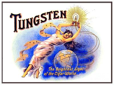 Digital Art - 1895 - Tungsten Cigars - Box Label - Advertisement - Color by John Madison