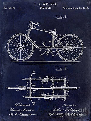 Armstrong Photograph - 1895 Bicycle Patent Drawing Blue by Jon Neidert