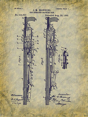 Drawing - 1895 Browning Machine Gun Patent - Aka - Potato Digger by Barry Jones