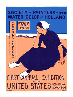 Digital Art - 1896 - Art Exhibition Poster - Durch Watercolor Artists - Color by John Madison