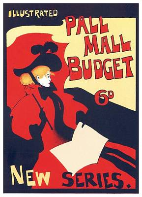 Digital Art - 1896 - Pall Mall Budget Advertisement - Poster - Color by John Madison