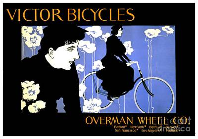 Digital Art - 1896 - Victor Bicycles - Overman Wheel Company Advertisement - Color by John Madison