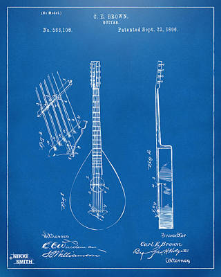 Drawing - 1896 Brown Guitar Patent Artwork - Blueprint by Nikki Marie Smith