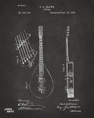 Digital Art - 1896 Brown Guitar Patent Artwork - Gray by Nikki Marie Smith