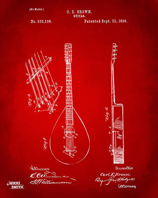 Drawing - 1896 Brown Guitar Patent Artwork - Red by Nikki Marie Smith