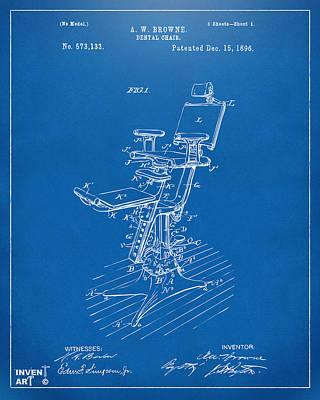 1896 Dental Chair Patent Blueprint Art Print by Nikki Marie Smith