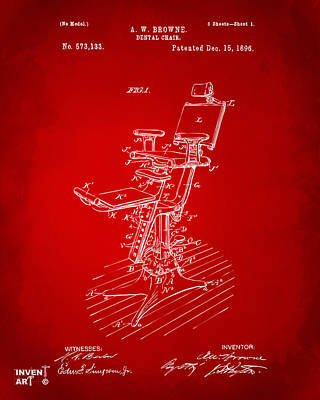 Digital Art - 1896 Dental Chair Patent Red by Nikki Marie Smith