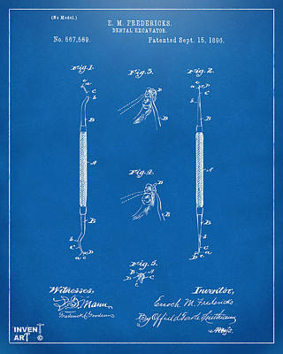 1896 Dental Excavator Patent Blueprint Art Print by Nikki Marie Smith