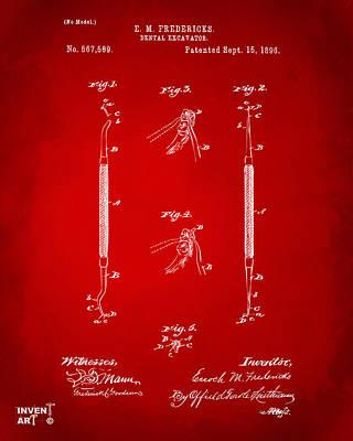 1896 Dental Excavator Patent Red Art Print by Nikki Marie Smith