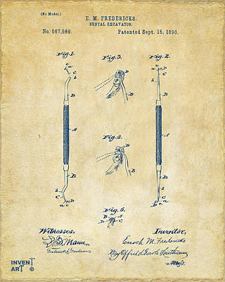 1896 Dental Excavator Patent Vintage Art Print by Nikki Marie Smith
