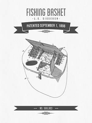 1896 Fishing Basket Patent Drawing Print by Aged Pixel