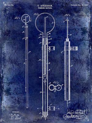 1896 Fishing Device Patent Drawing Blue Art Print