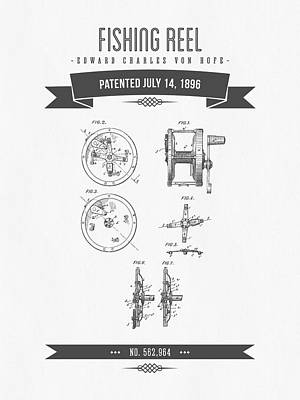 1896 Fishing Reel Patent Drawing Art Print by Aged Pixel