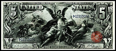 Painting - 1896 Five Dollar Silver Certificate by Historic Image