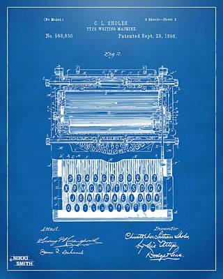 1896 Type Writing Machine Patent Artwork - Blueprint Art Print
