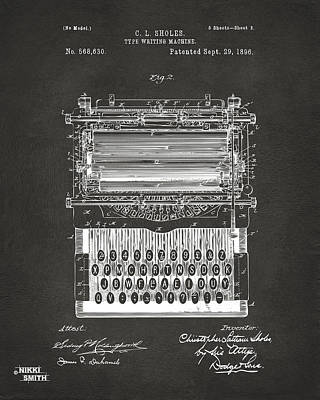 Writings Digital Art - 1896 Type Writing Machine Patent Artwork - Gray by Nikki Marie Smith