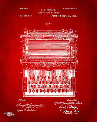 Art For Men Digital Art - 1896 Type Writing Machine Patent Artwork - Red by Nikki Marie Smith
