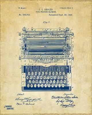 Keyboards Digital Art - 1896 Type Writing Machine Patent Artwork - Vintage by Nikki Marie Smith