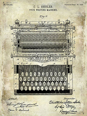 Typewriter Photograph - 1896 Type Writing Machine Patent by Jon Neidert