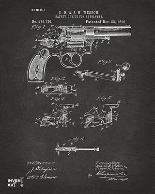 1896 Wesson Safety Device Revolver Patent Artwork - Gray Art Print