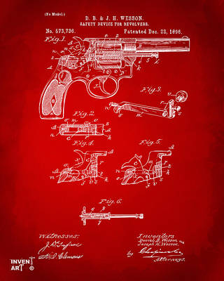 1896 Wesson Safety Device Revolver Patent Artwork - Red Art Print