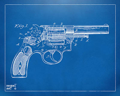 Xray Digital Art - 1896 Wesson Safety Device Revolver Patent Minimal - Blueprint by Nikki Marie Smith