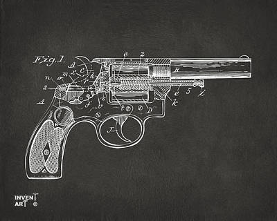 Weapon X Drawing - 1896 Wesson Safety Device Revolver Patent Minimal - Gray by Nikki Marie Smith