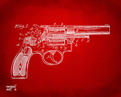 Weapon X Drawing - 1896 Wesson Safety Device Revolver Patent Minimal - Red by Nikki Marie Smith