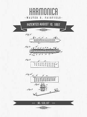 Jazz Royalty Free Images - 1897 Harmonica Patent Drawing Royalty-Free Image by Aged Pixel