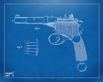 1897 Mannlicher Pistol Patent Minimal - Blueprint Art Print by Nikki Marie Smith