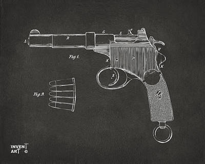 1897 Mannlicher Pistol Patent Minimal - Gray Print by Nikki Marie Smith